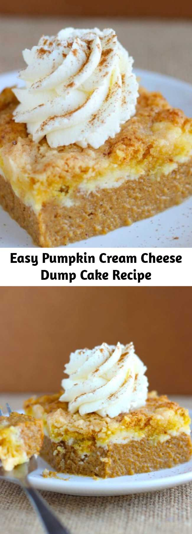 Pumpkin Cream Cheese Dump Cake Recipe - BETTER and way easier than pumpkin pie! This Pumpkin Cream Cheese Dump Cake is the best way to serve pumpkin pie to a crowd!