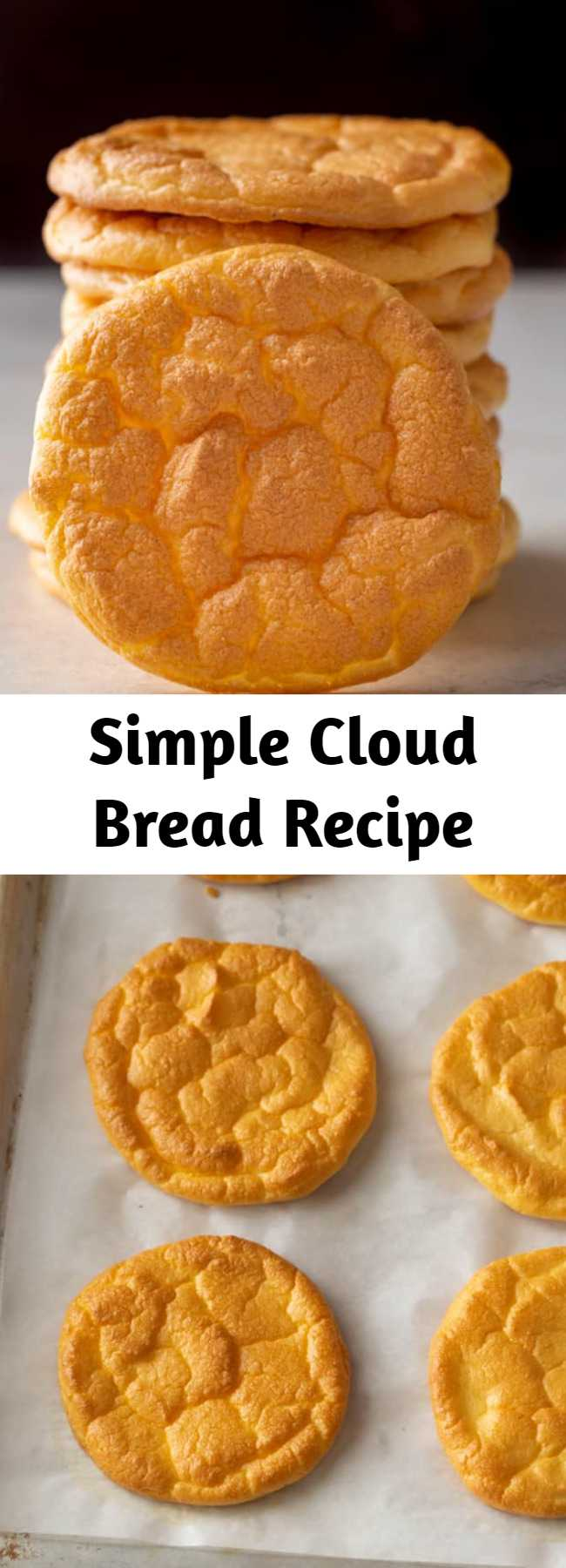 Simple Cloud Bread Recipe - This simple cloud bread recipe is a low carb, keto friendly option that is light, fluffy, and great for sandwiches. #bread #baking #lowcarb #keto #glutenfree