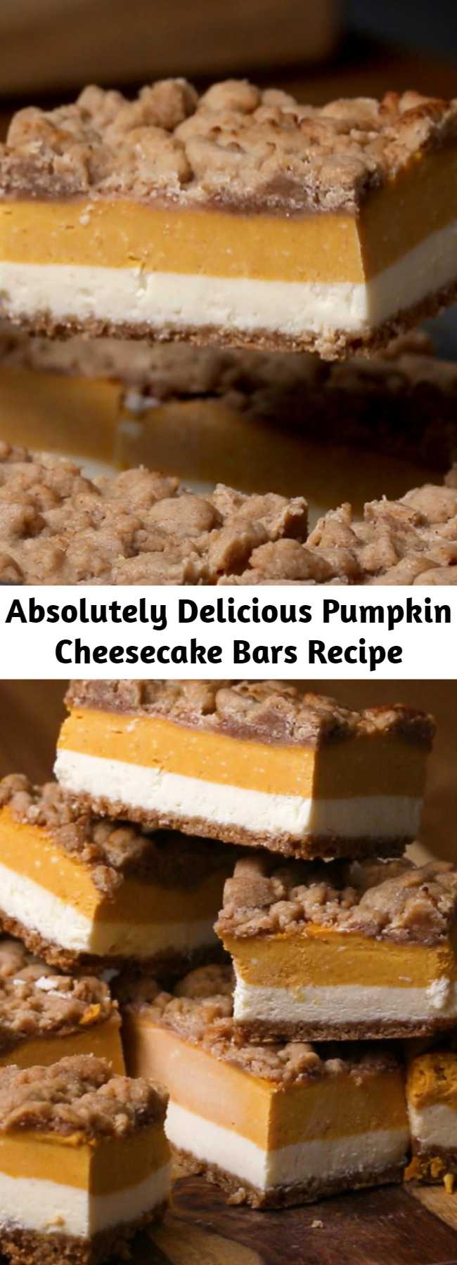Absolutely Delicious Pumpkin Cheesecake Bars Recipe - Will make for a super tasty sweet treat during the fall and holiday season. This perfect Pumpkin Cheesecake Bars is delicious and very good! Perfect Thanksgiving Dessert! #pumpkin #cheesecake #fall #fall #recipe