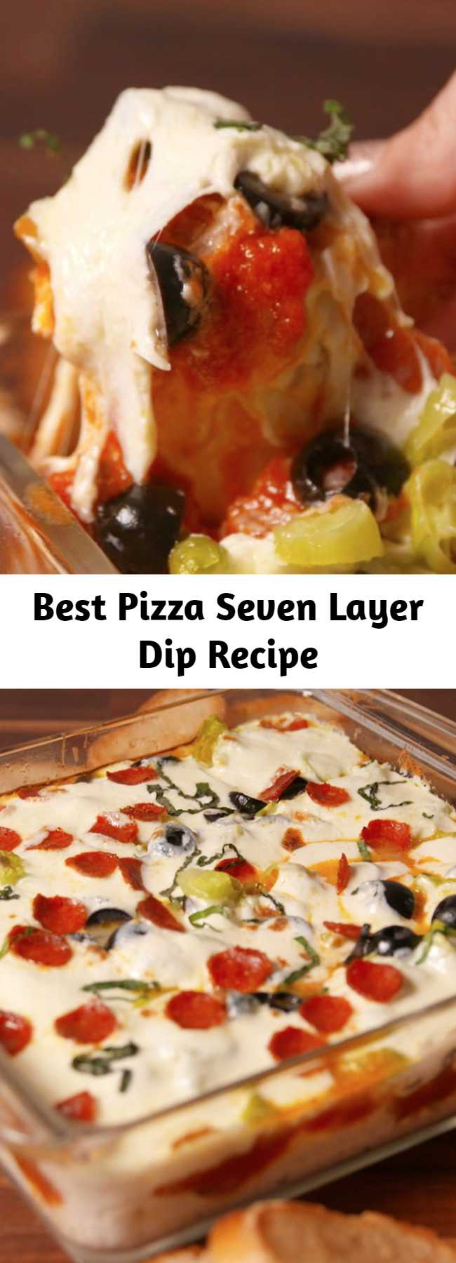 Best Pizza Seven Layer Dip Recipe - This pizza seven-layer dip is the cheesiest party appetizer you'll ever have. #easyrecipes #dips #fingerfoods #pizzadip #partyapps #partyappetizers #superbowlrecipes