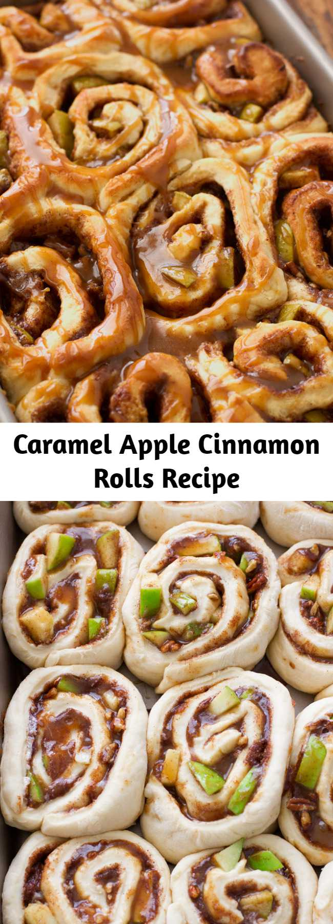 Caramel Apple Cinnamon Rolls Recipe - Caramel apple cinnamon rolls stuffed with cinnamon, brown sugar, caramel, granny-smith apples and drizzled with apple cider caramel sauce and pecans. My cinnamon rolls have the most wonderful, bakery-style buttery flavor! These apple cinnamon rolls are the perfect fall treat!