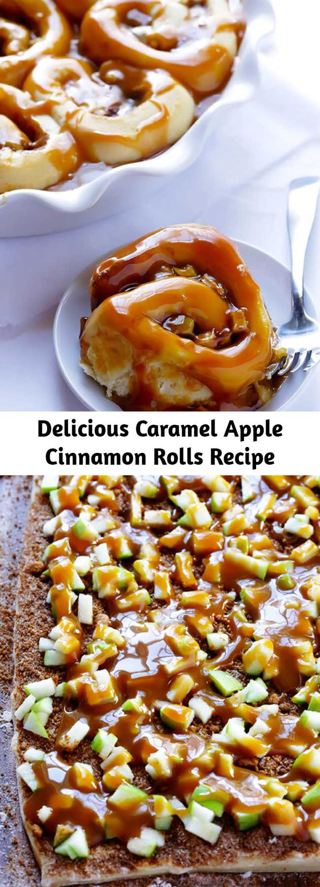 Delicious Caramel Apple Cinnamon Rolls Recipe - These caramel apple cinnamon rolls are filled with delicious sweet caramel and tart apples — the perfect combination! Made in 1 hour, and will send you into caramel apple heaven.