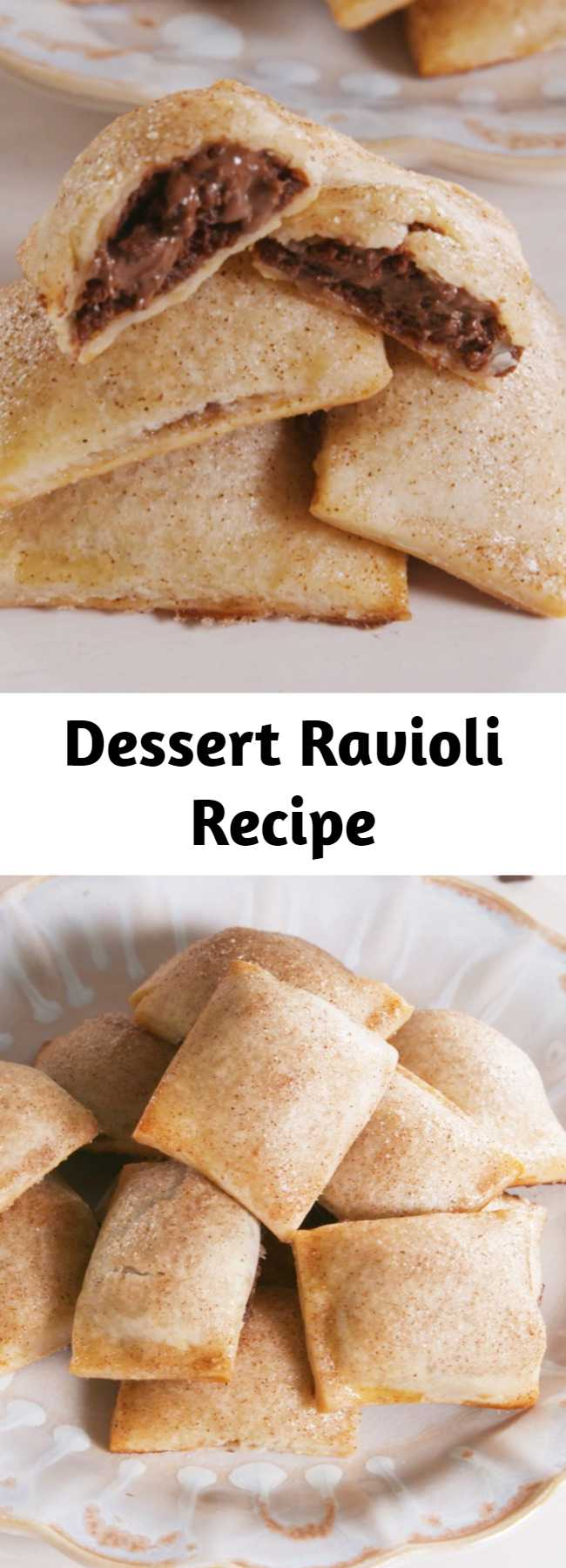"Dessert Ravioli Recipe - How genius is this method?! You can fill these ""ravioli"" with all sorts of things, from fruit fillings to peanut butter and chocolate. We chose Nutella because we're obsessed with it. This Dessert Ravioli is the BEST thing to do with Nutella. #icecubetrayhacks #piedough #creamcheese #nutella #nutelladesserts #minidesserts"