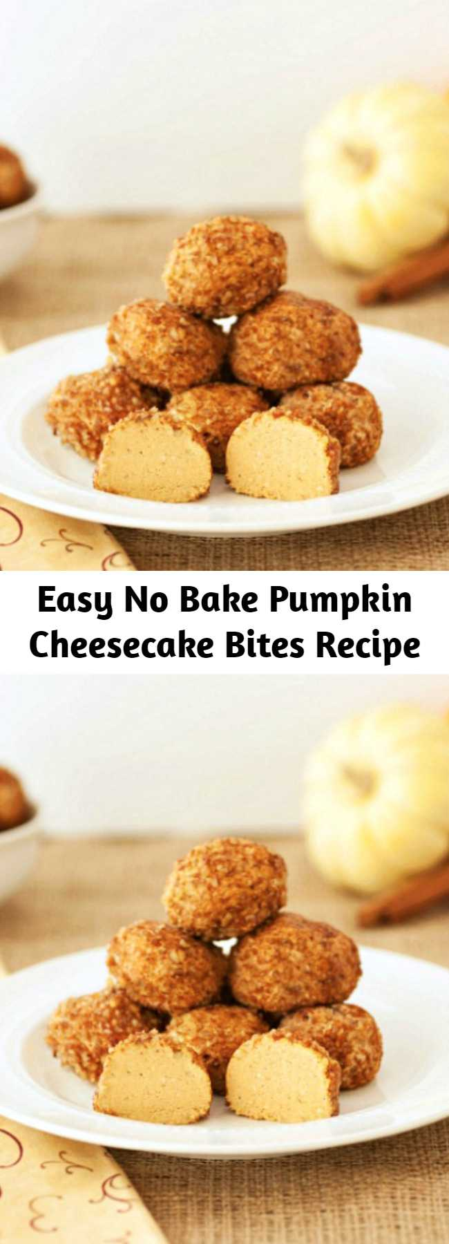 Easy No Bake Pumpkin Cheesecake Bites Recipe - These No Bake Pumpkin Cheesecake Bites are very easy to make. A simple treat that is low carb, grain free, and gluten free.
