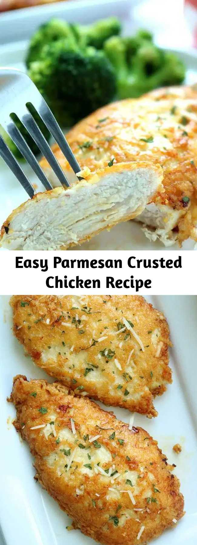 Easy Parmesan Crusted Chicken Recipe - This Parmesan Crusted Chicken is an easy meal idea. We use pounded thin chicken breasts, coat in a delicious Parmesan coating, and then fried to make them crispy. Add this chicken idea to your dinner this week.