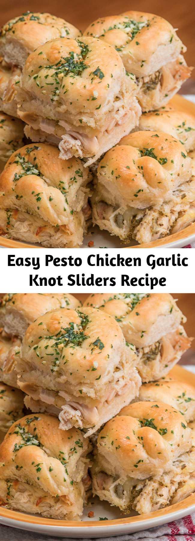 Easy Pesto Chicken Garlic Knot Sliders Recipe