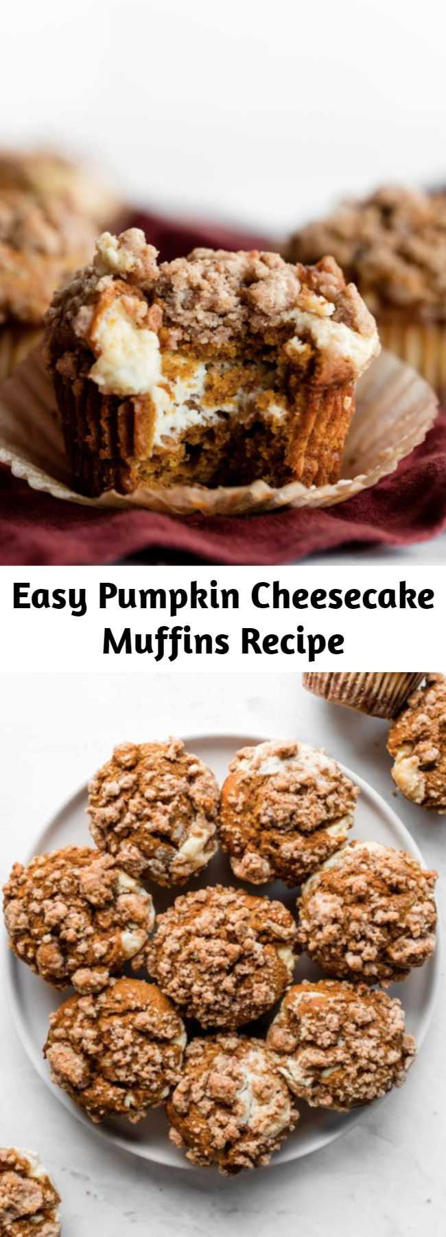 Easy Pumpkin Cheesecake Muffins Recipe - Like a delicious pumpkin roll, these pumpkin cheesecake muffins combine perfectly spiced pumpkin muffins with cream cheese filling. Top the muffins with brown sugar crumb cake topping and you have an absolutely irresistible pumpkin spice breakfast treat.