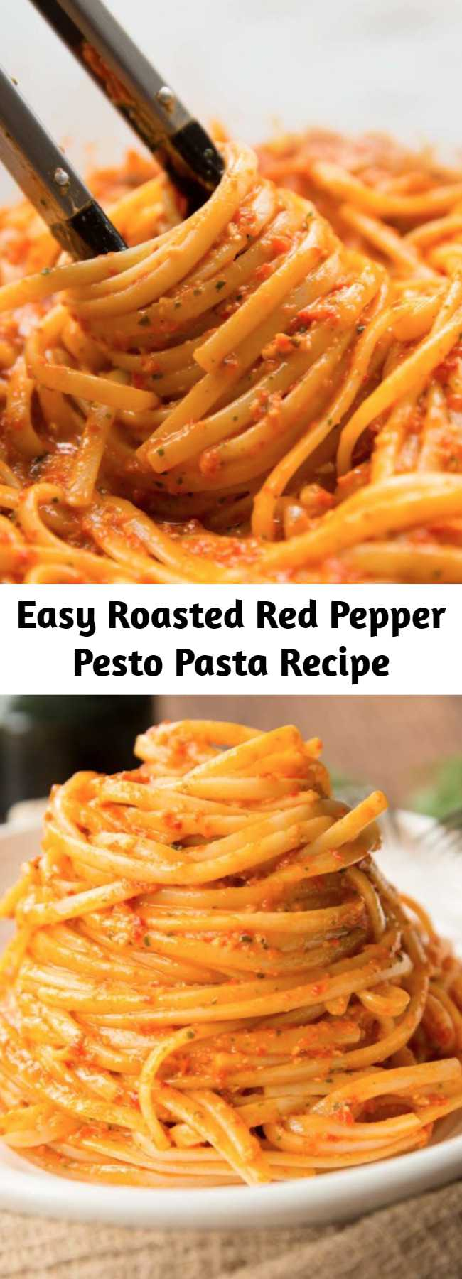 Easy Roasted Red Pepper Pesto Pasta Recipe - This Roasted Red Pepper Pesto Pasta is bursting with flavour and goes down in just 15mins! #redpepper #bellpepper #pesto #pasta