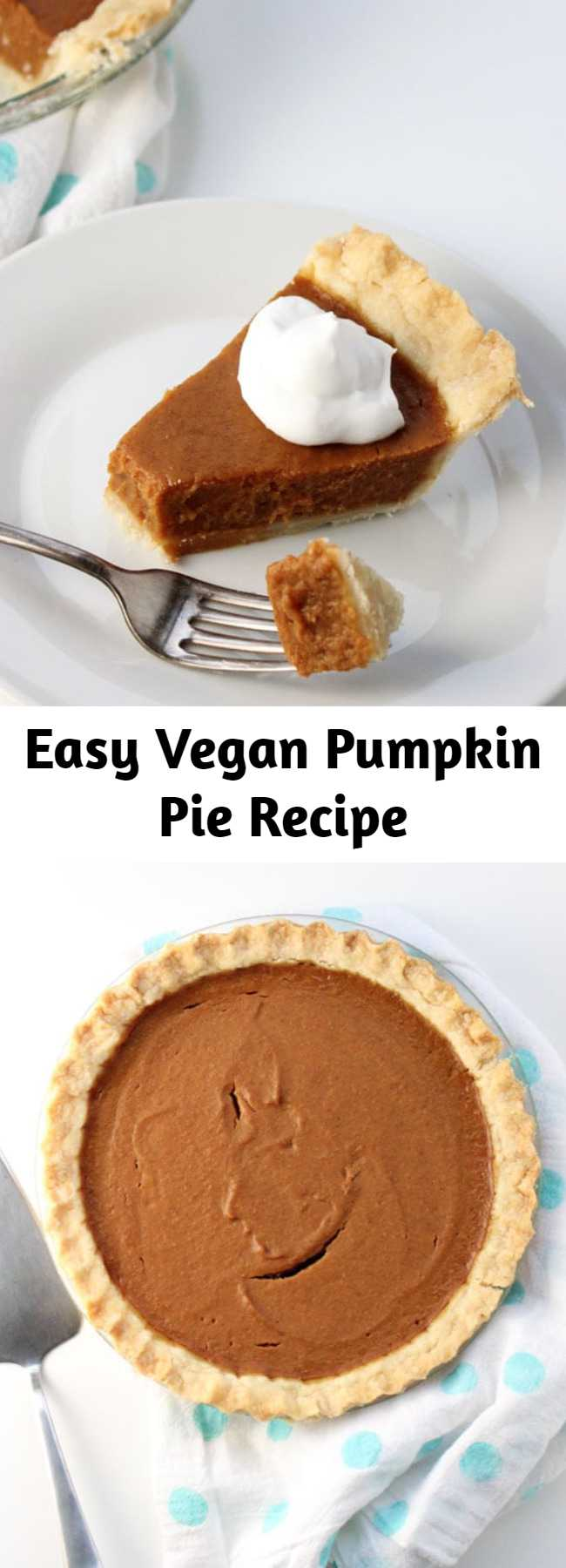 Easy Vegan Pumpkin Pie Recipe - Just 9 easy ingredients, combine in a blender, pour into a pie shell, and bake. Done! Tastes best when made ahead of time making it a stress-free Thanksgiving dessert. The BEST go-to vegan pumpkin pie recipe ever.