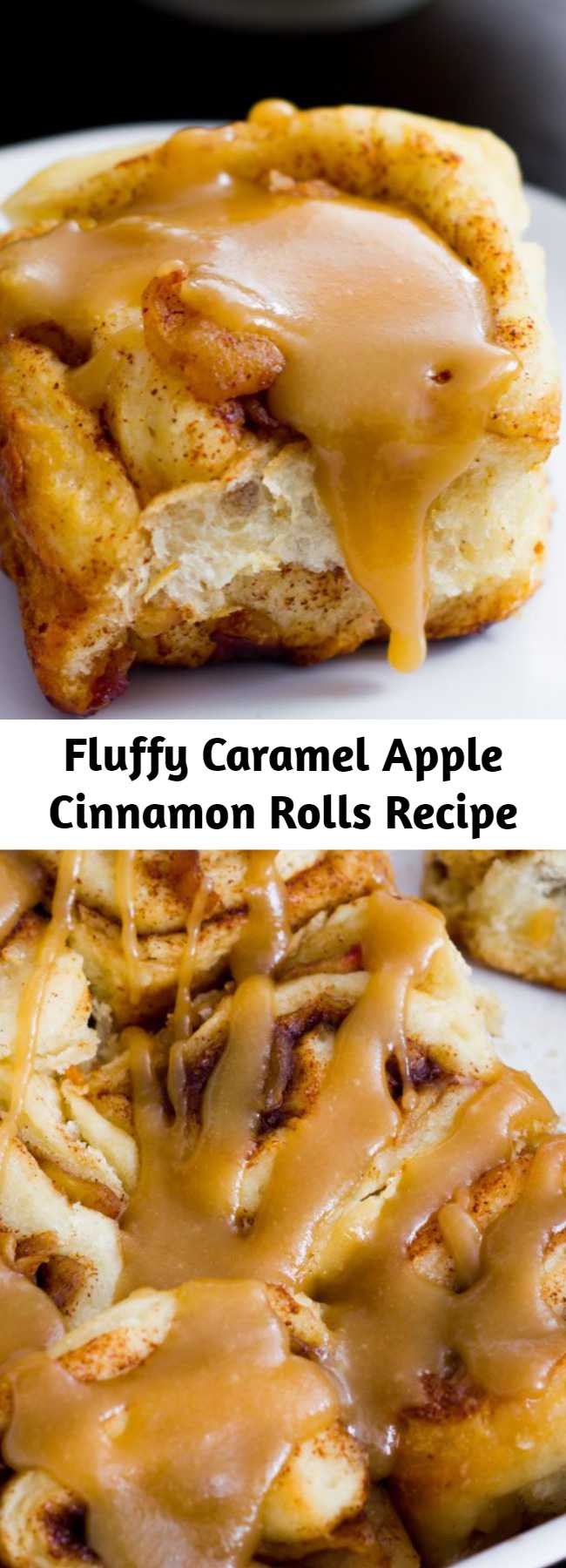 Fluffy Caramel Apple Cinnamon Rolls Recipe - Soft, fluffy cinnamon rolls stuffed with brown sugar & apples, and generously glazed with homemade caramel.