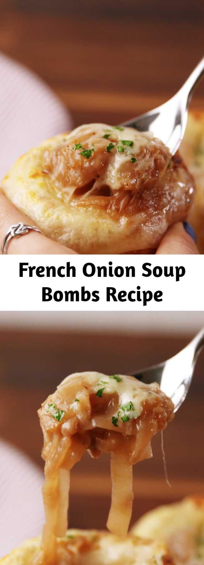 French Onion Soup Bombs Recipe - Mini bread bowls are SO CUTE. #easy #recipe #soup #mini #bites #bombs #frenchonion #onion #winter #appetizer