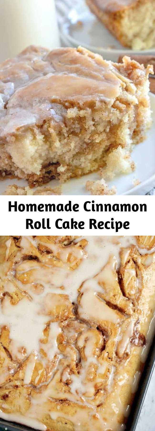 Homemade Cinnamon Roll Cake Recipe - This Homemade Cinnamon Roll Cake dessert has all the flavor of a cinnamon roll but in an easy cake with a vanilla icing drizzled on top! #homemadecakes #cinnamonrolls