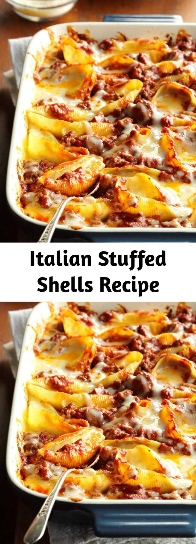 Italian Stuffed Shells Recipe - A dear friend first brought over this stuffed shells recipe. Now I take it to other friends' homes and to potlucks, because it's always a big hit! Simple and delicious.