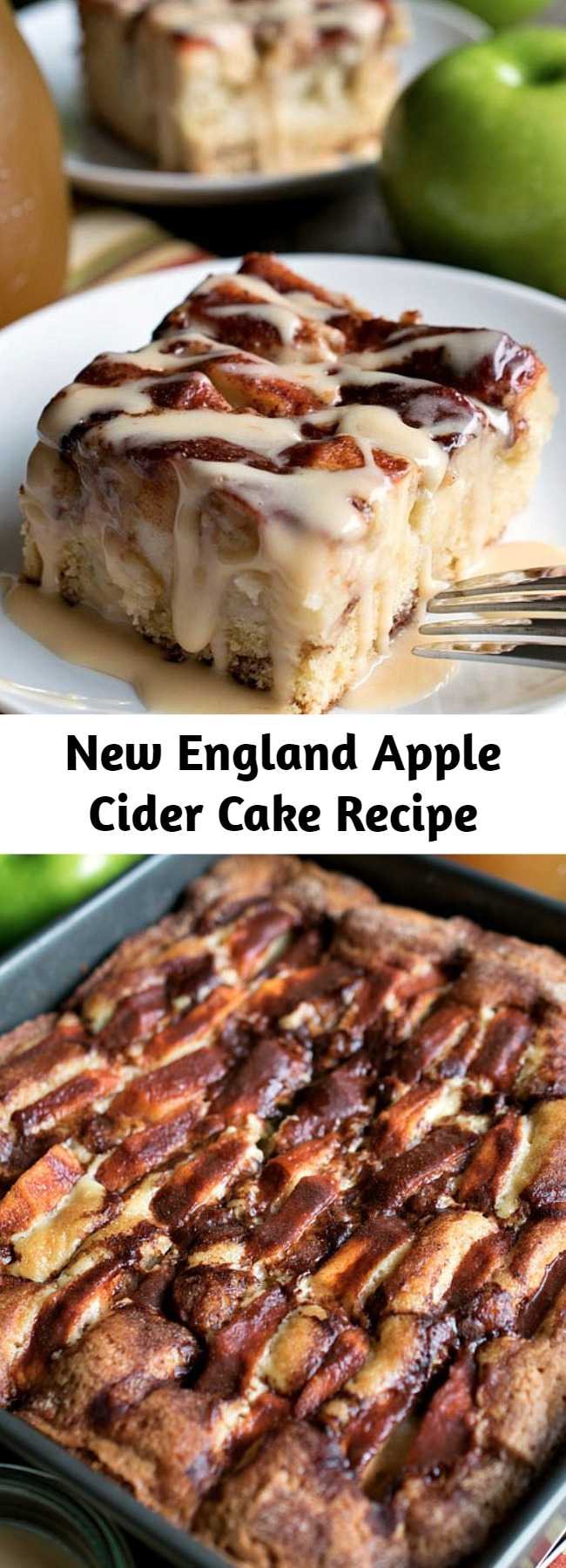New England Apple Cider Cake Recipe - Very delicious... chock full of sliced Granny Smith apples in a simple, sweet cake that gets great flavor and moisture from cinnamon, heavy cream and apple cider! This cake also has a delicious, creamy apple cider glaze that gets drizzled over the top when served!