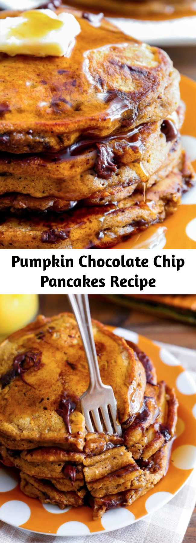 Pumpkin Chocolate Chip Pancakes Recipe - These pumpkin chocolate chip pancakes are the epitome of a cozy fall breakfast! Moist and fluffy, they're wonderful with a pat of butter and a cascade of maple syrup. You'll love starting fall mornings with a happy stack of these thick, and flavorful pumpkin pancakes.