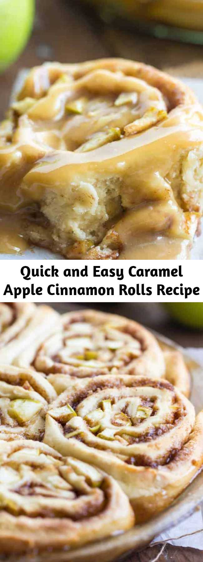 Quick and Easy Caramel Apple Cinnamon Rolls Recipe - Caramel Apple Cinnamon Rolls are a quick and easy cinnamon roll stuffed with real apples and drizzled with caramel. Ready within an hour!