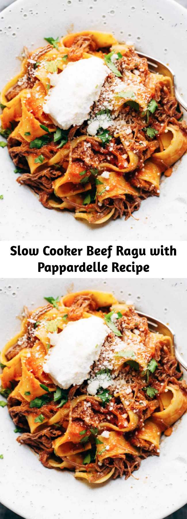 Slow Cooker Beef Ragu with Pappardelle Recipe - Easy comfort food #pasta #pappardelle #brunch