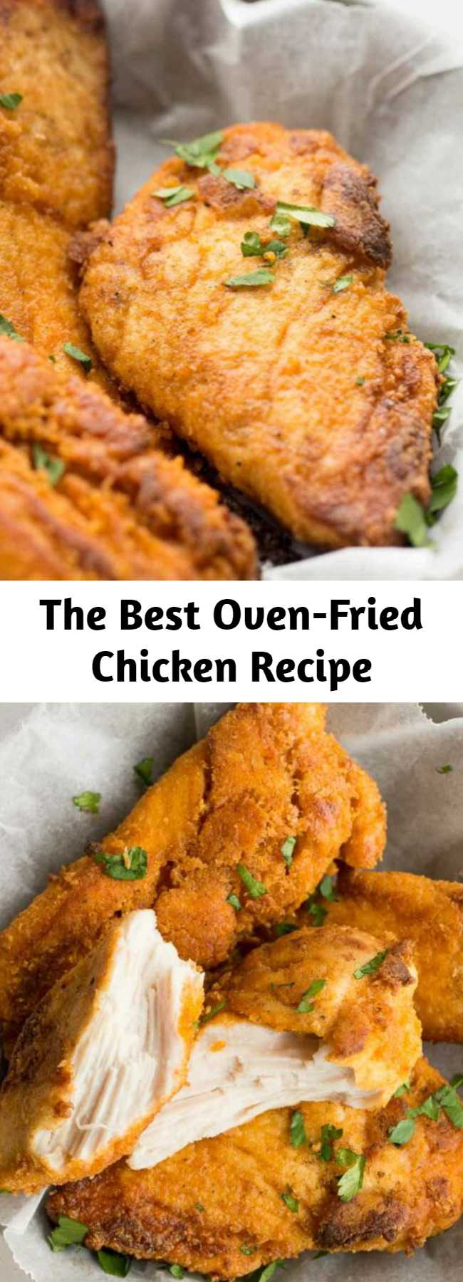 The Best Oven-Fried Chicken Recipe - This is the BEST Oven Fried Chicken recipe! It comes crispy right out of the oven, is much lower in fat and made with lean chicken breast. It takes just like KFC but it's baked instead of fried! #chicken #healthy #healthydiet #healthyrecipe #chickenrecipe #recipe #cooking #dinner