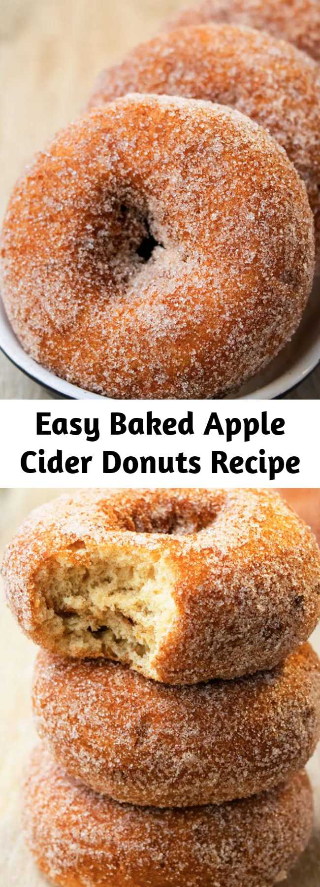 Easy Baked Apple Cider Donuts Recipe - Easy, old fashioned, baked donuts, homemade with simple ingredients in about 30 minutes. Coated in spiced cinnamon sugar. Soft, moist, tender and cake-like! Can also make donut holes. #donuts #apples #baking #breakfast #dessert #fall #thanksgiving
